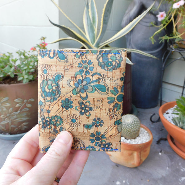 Blue Flowers Slim Cork Wallet