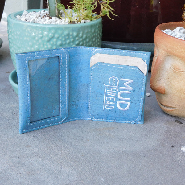 Light Blue Slim Cork Wallet