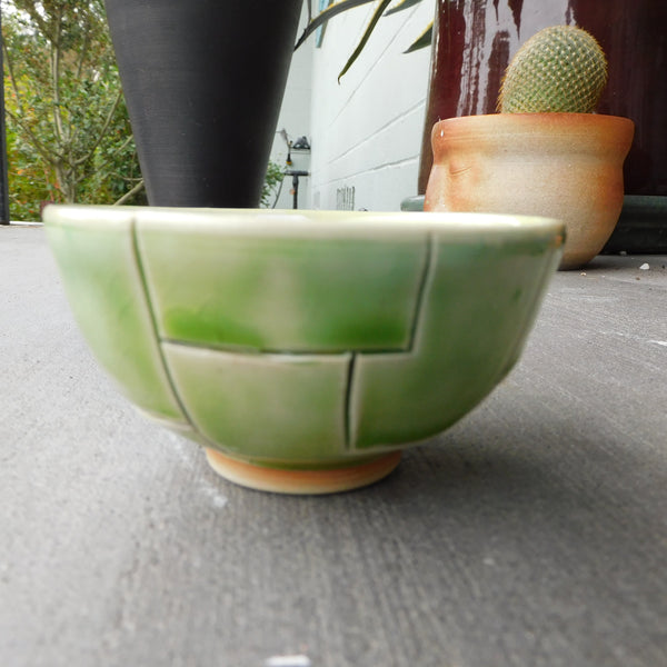 Green with etched lines Bowl