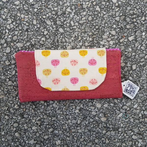 Cork Slimline Wallet:: pink flowers