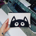 Custom-Made Peeking Cat Cork Clutch