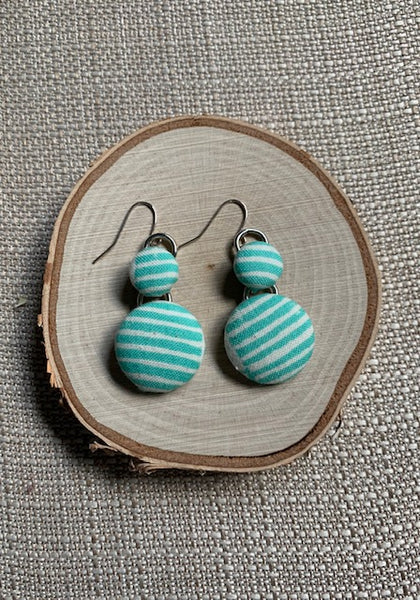 Teal Stripes Button Earrings