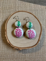 Pink Pineapples button earring