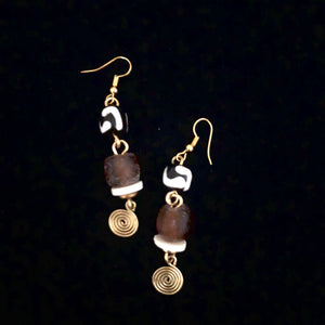 Cocoa Glass Batik Earrings