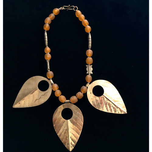 Glass & Brass Leaf Necklace