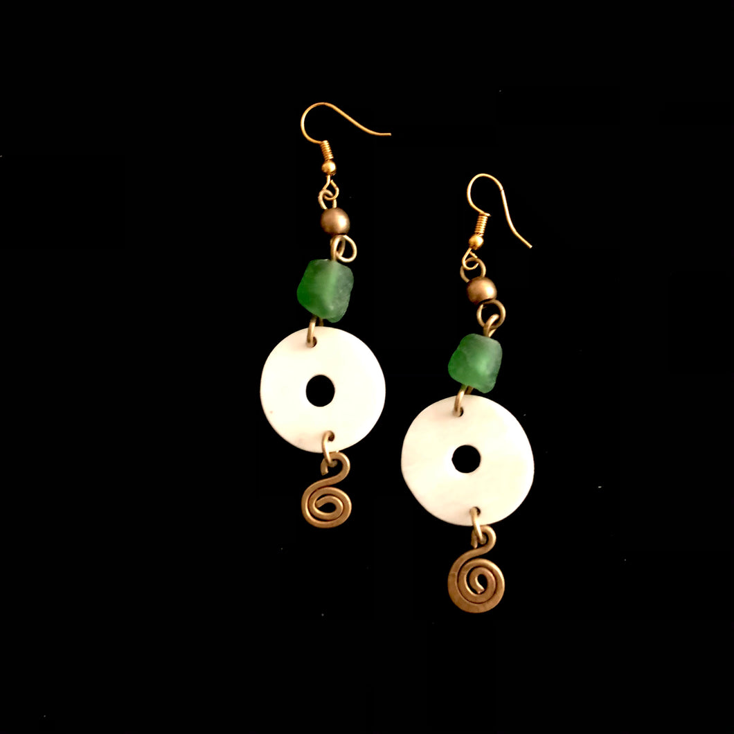 Green Squiggle Earring