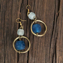 Load image into Gallery viewer, Blue Glass Hoop Earrings