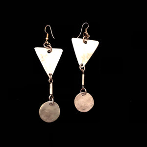 Brass Triangle Circle Earrings