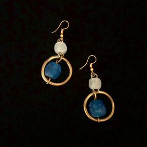 Blue Glass Hoop Earrings