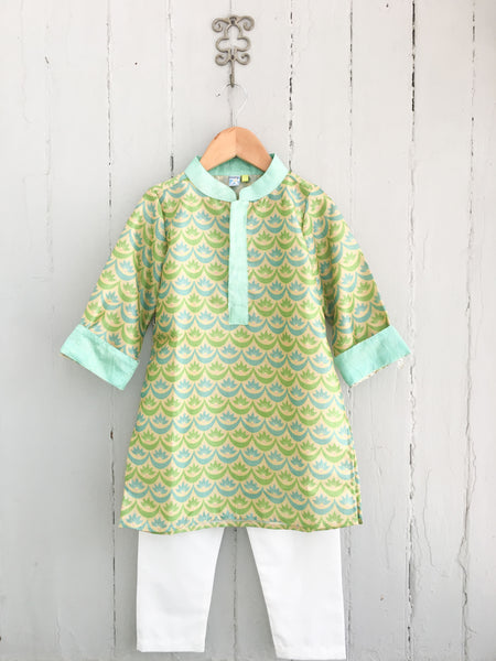 Floral Wave Mosaic Boys Kurta with Aqua Collar