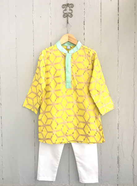 Khadi Gold Embossed sunshine Yellow Boys Kurta