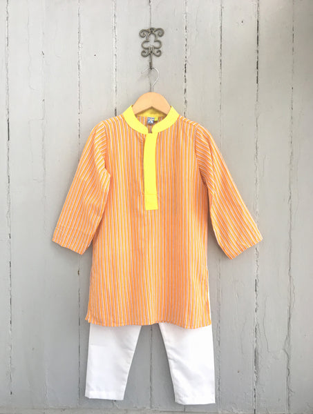 Jaipuri Mal Orange Pinstripe Cotton Kurta