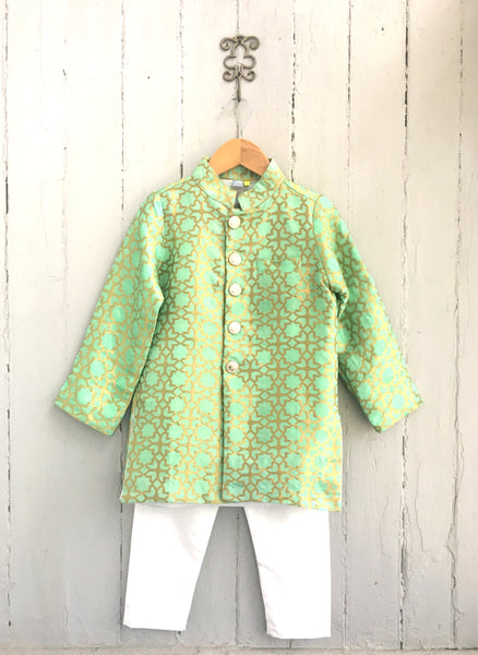Aqua and Gold Boys sherwani