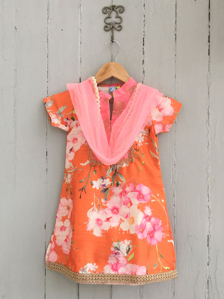 Orange Floral Silk Kurti