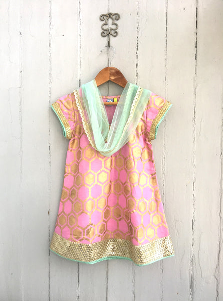 Beehive Gold Embossed Pale Pink Cotton Kurti