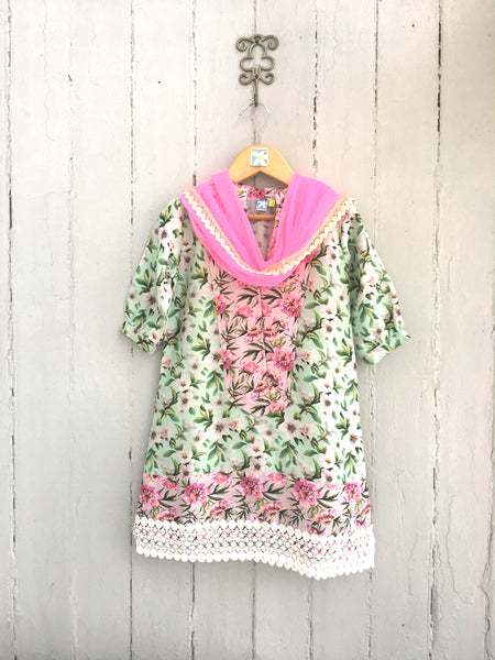 Aqua Chanderi Floral Kurti with Pink Yoke