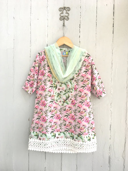 Pink Chanderi Floral Kurti with Aqua Yoke