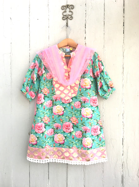 Rose Garden Chanderi Kurti With Brocade Yoke