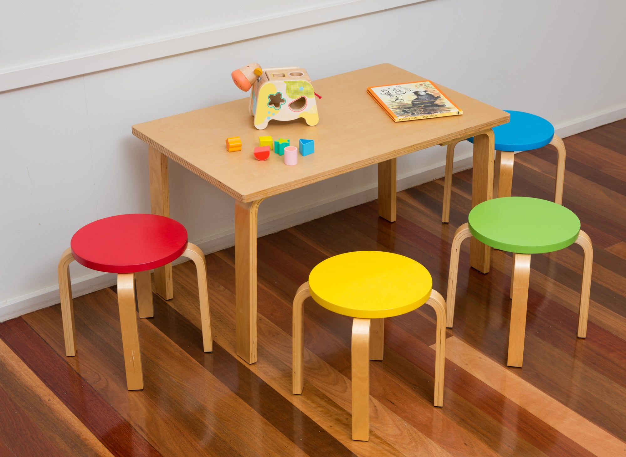 Bunyip Rectangular Table & Coloured Stools