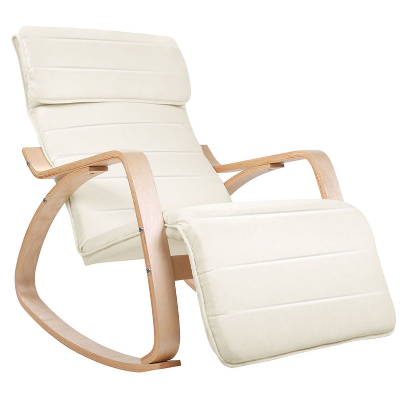 Birch Plywood Adjustable Rocking Recliner - Beige