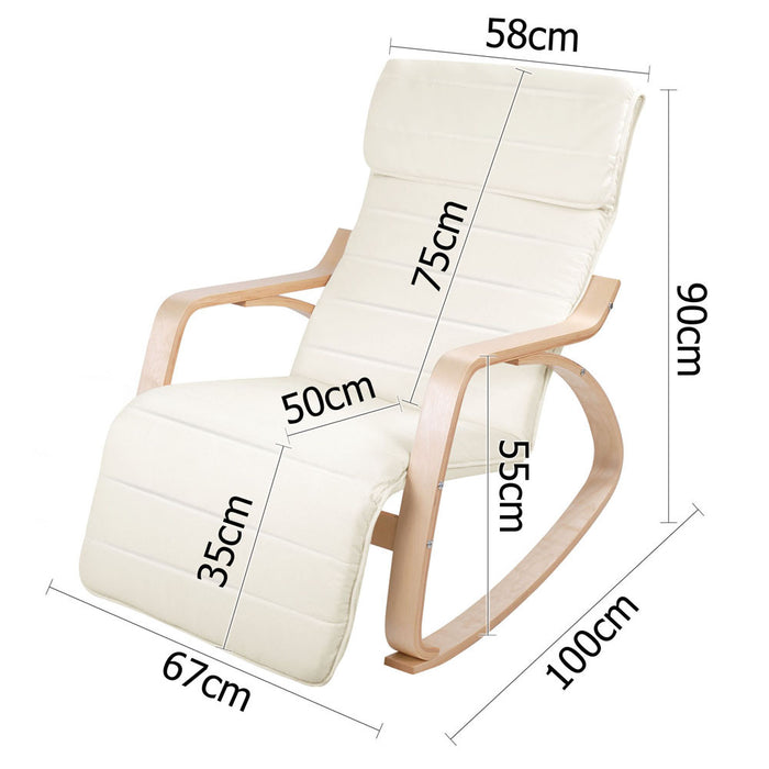Birch Plywood Adjustable Rocking Recliner - measurements