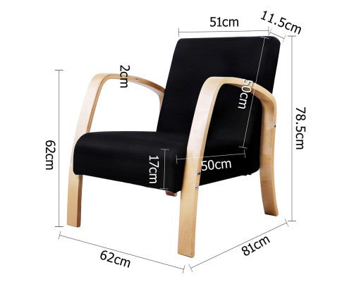 Birch Plywood Fabric Sofa Arm Chair - measurements