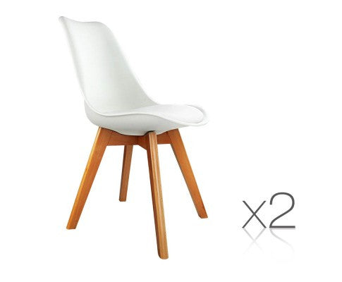 Set of 2 Dining Chairs White PU Leather