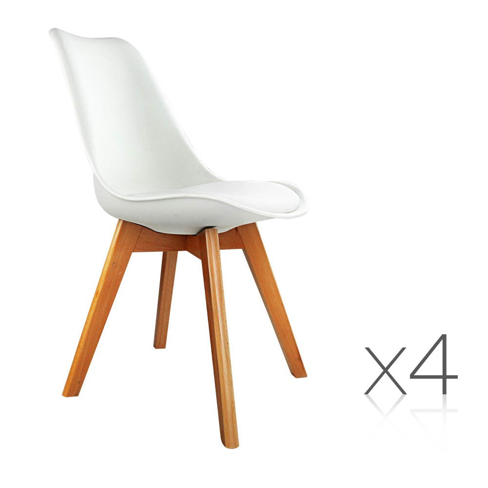 Set of 4 Dining Chairs White PU Leather