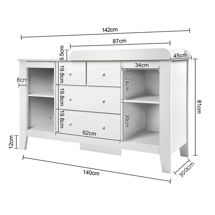 Baby Change Table & Dresser Cabinet - White measurements