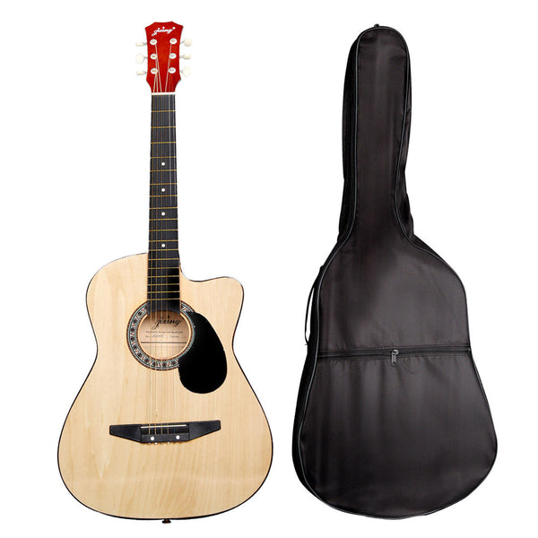 38 inch wooden acoustic guitar with case