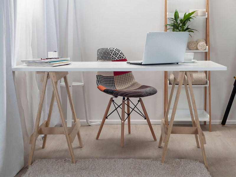 Trestle Desk - Natural legs / White Top