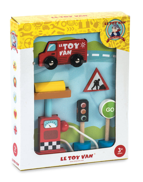 Car & Petrol Pump Set by Le Toy Van (boxed)