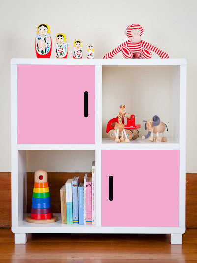 Storage Unit - Four Cubes - Pink Doors