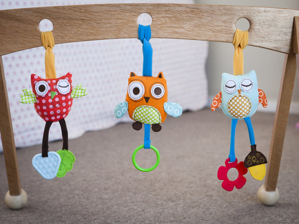 Soft toys on Wooden Baby Play Gym