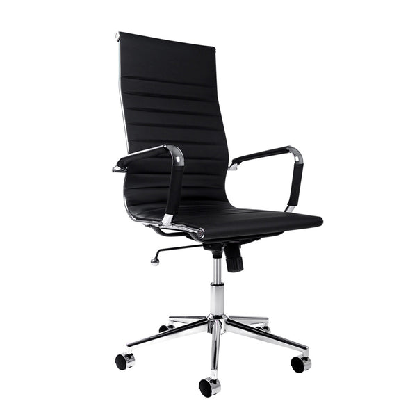Eames Replica PU Leather High Back Black