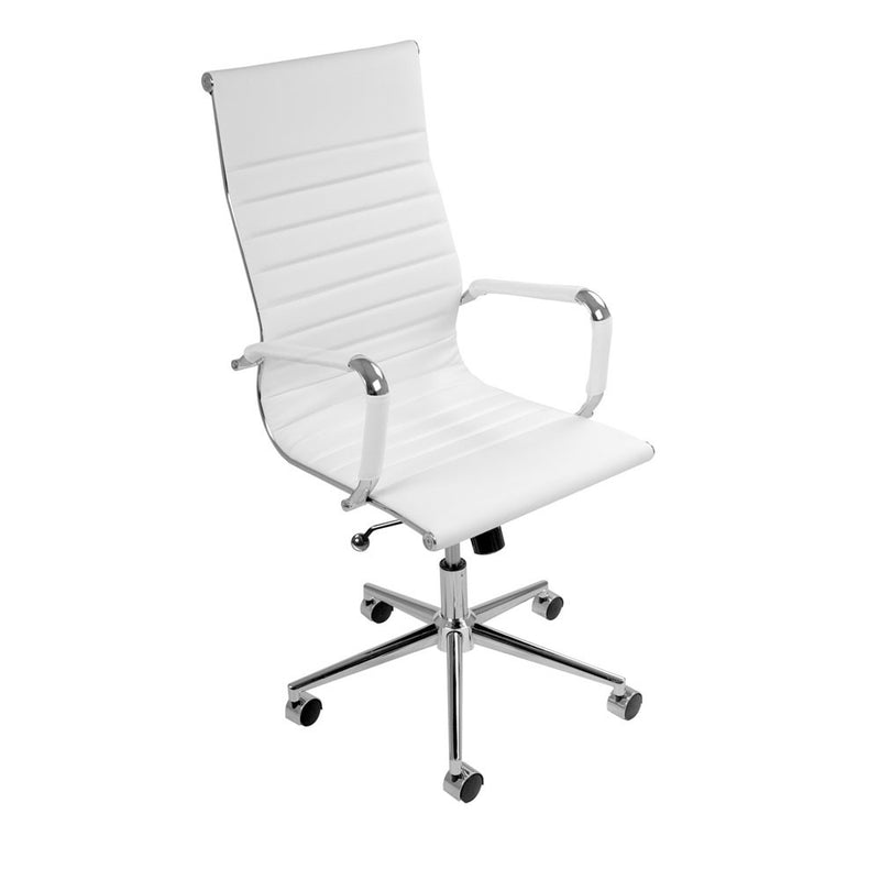 Eames Replica PU Leather High Back White