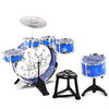 Kids Drums Play Set 8 Pcs with Seat - Blue