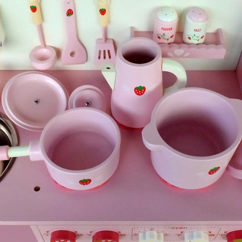 Children's Wooden Kitchen Play Set Pink