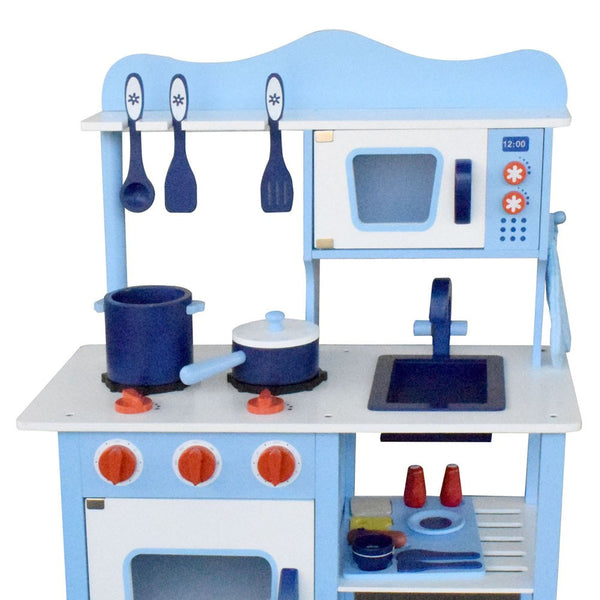 Children Wooden Kitchen Play Set Blue