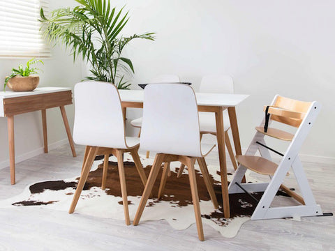 Mocka Soho Wooden High Chair - White/Natural