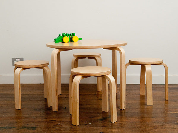 Mocka Table and Natural stool set