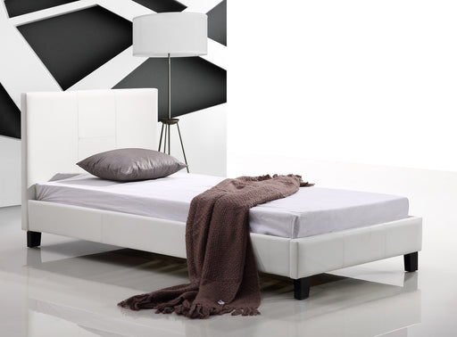 Single PU Leather Bed Frame White