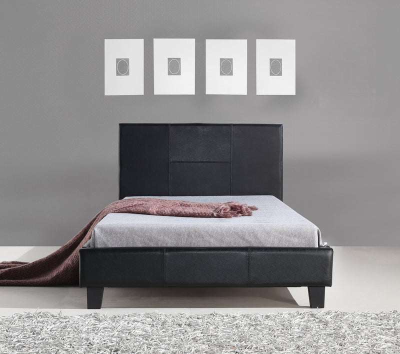 King Single PU Leather Bed Frame Black
