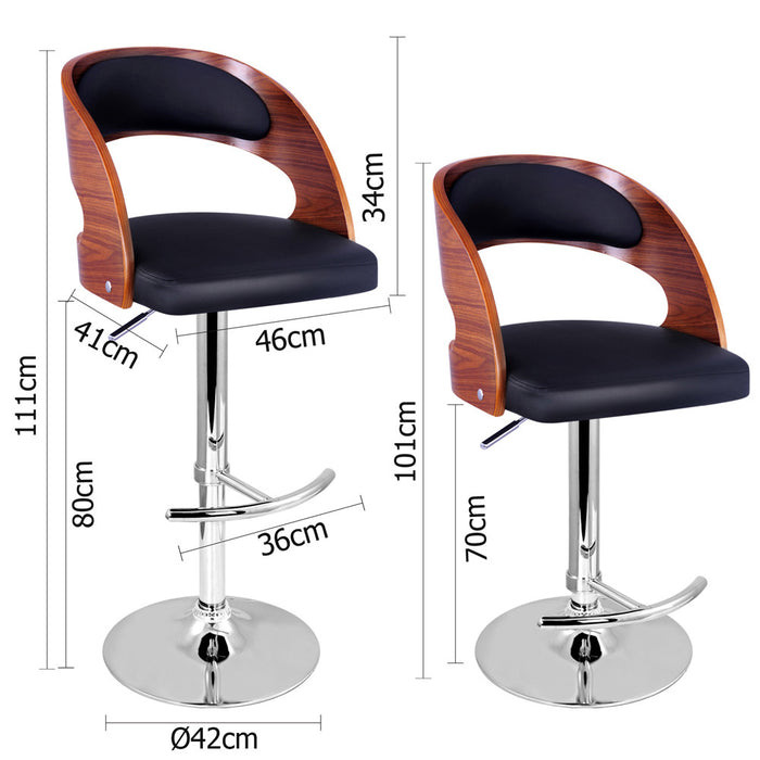 Wooden Bar Stool with Padded Seat (Pair)