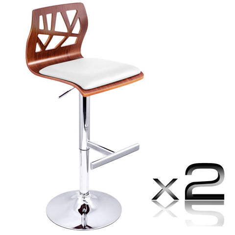 Set of 2 PU Leather Wooden Kitchen Bar Stool Padded Seat