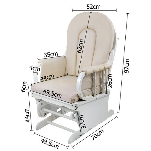 Baby Breast Feeding Chair with Ottoman - measurements