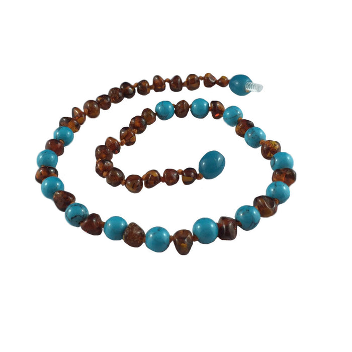 Baltic Amber Necklace - Cognac - Turquoise