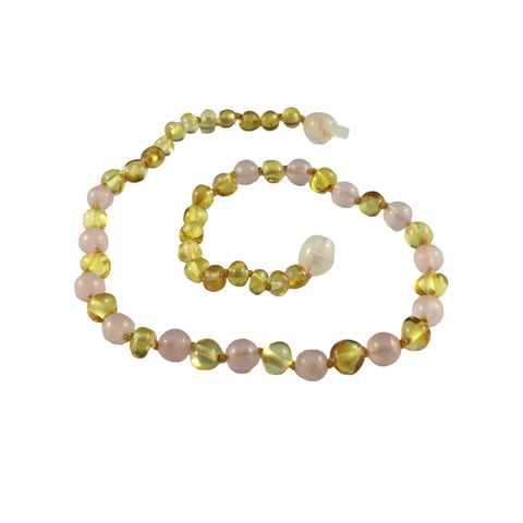 Baltic Amber Teething Necklace - Lemon Honey with Rose Quartz