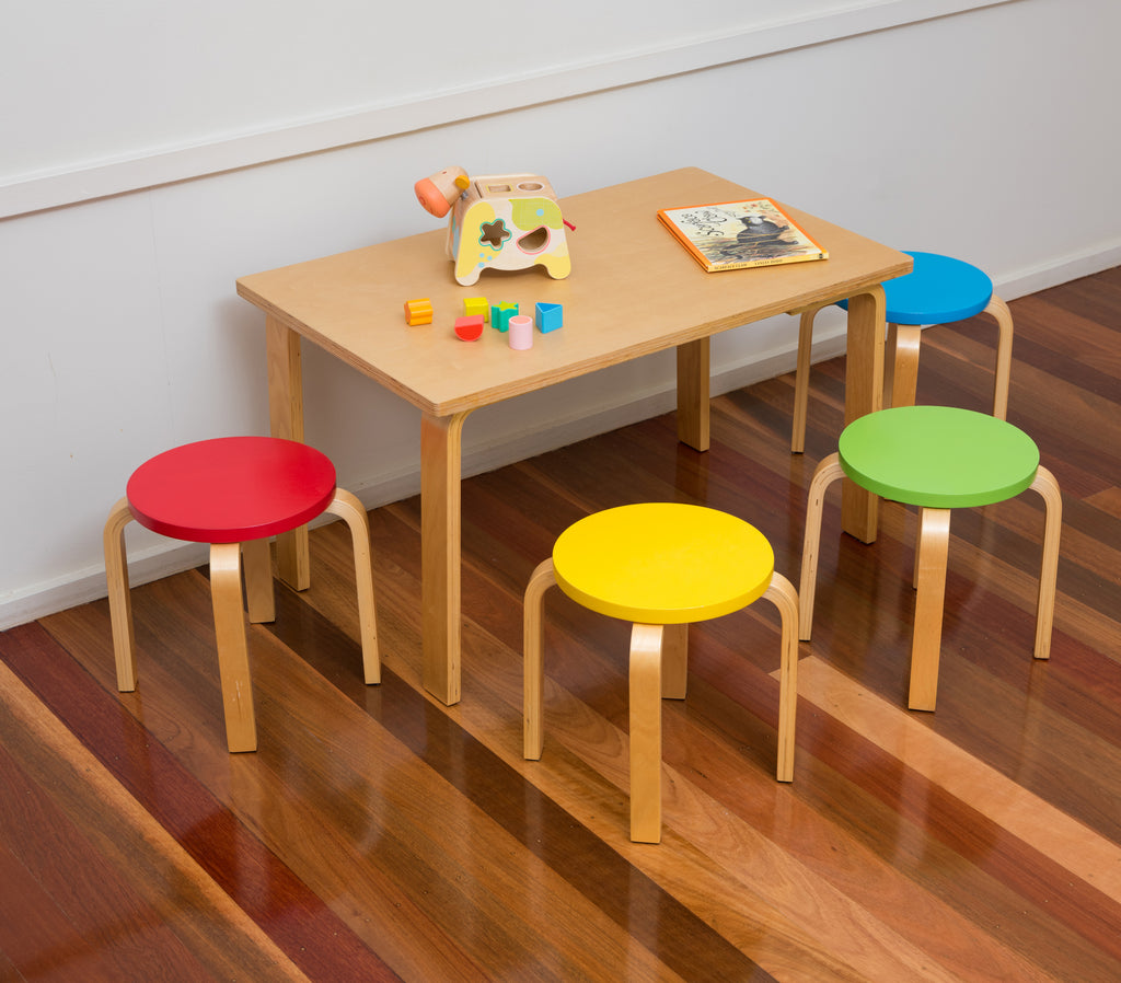Bunyip Rectangular Table & 4 Coloured Stools from Mille Kids