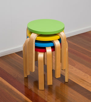 Bunyip 4 Coloured Stools stacked, from Mille Kids